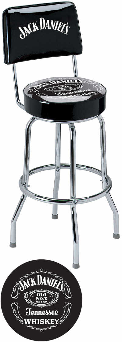 Jack Daniel S Label Bar Stool W Backrest Jd 30190